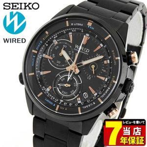 25日から最大31倍 レビュー7年保証 SEIKO セイコー WIRED ワイアード AGAW440 国内正規品 メンズ 腕時計 黒 ブラック 金 ピンクゴールド メタル|tokeiten