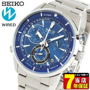 クオカード付き ポイント最大26倍 セイコー ワイアード 腕時計 SEIKO WIRED THE BLUE ザ・ブルー クロノグラフ AGAW442 国内正規品 メンズ シルバー 青 ブルー|tokeiten