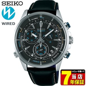 WIRED ワイアード SEIKO セイコー AGAW448 THE BLUE ザ・ブルー メンズ 腕時計 レビュー7年保証 国内正規品 ブルー ブラック 革ベルト レザー|tokeiten