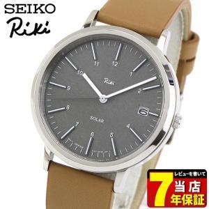 レビュー7年保証 セイコー アルバ リキ 腕時計 SEIKO ALBA Riki スタンダード ソーラー AKPD023 国内正規品 メンズ ペア グレー ブラウン 革ベルト レザー|tokeiten
