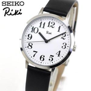 レビュー7年保証 セイコー アルバ リキ 腕時計 SEIKO ALBA Riki スタンダード AKPK424 メンズ 国内正規品 アナログ ブラック 白 ホワイト 革ベルト レザー|tokeiten
