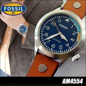 FOSSIL AEROFLITE エアロフライト フォッシル 腕時計 メンズ ウォッチ 新品 レザー アナログ クオーツ ブラウン 茶色 ブルー 青 AM4554 海外モデル|tokeiten