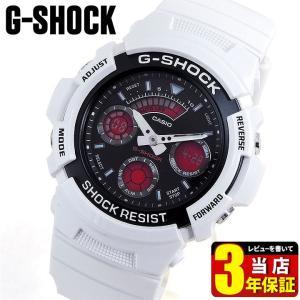 レビュー3年保証 G-SHOCK Gショック ジーショック g-shock gショック 白 ホワイト 赤 腕時計 アナログ アナデジ メンズ AW-591SC-7A 逆輸入|tokeiten
