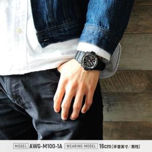 CASIO カシオ Gショック 電波ソーラー G-SHOCK ジーショック ブラック 黒 AWG-M100-1A 海外モデル BASIC アナログ デジタル アナデジ 逆輸入|tokeiten|02