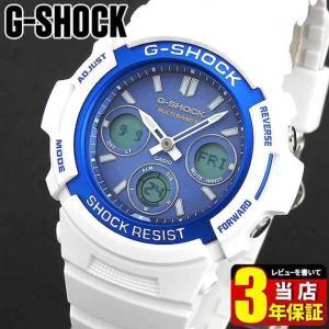 レビュー3年 CASIO カシオ G-SHOCK ジーショック AWG-M100SWB-7A 海外モデル 電波ソーラー メンズ 腕時計 ウレタン アナログ デジタル ブルー 青 白 ホワイト|tokeiten