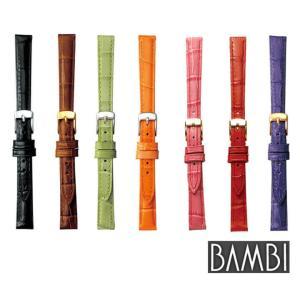 先着8%OFFクーポン ゆうメール BAMBI バンビ レザーベルト BK009 カーフ 型押し バンド スペアベルト 替えベルト 牛革 皮 腕時計 時計 tokeiten