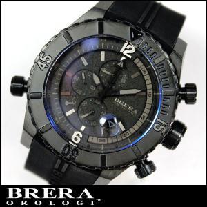 BRERA OROLOGI ブレラ オロロジ Sottomarino Diver ソットマリノ ダイバー BRDVC4703 クロノグラフ 黒 ブラック ラバーベルト並行輸入品|tokeiten
