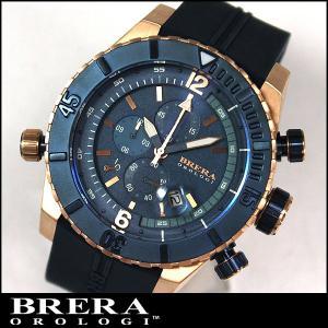 BRERA OROLOGI ブレラ オロロジ Sottomarino Diver ソットマリノ ダイバー BRDVC4707 クロノグラフ ピンクゴールド 紺 ネイビー 青 ラバーベルト並行輸入品|tokeiten