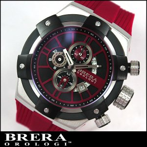 BRERA OROLOGI ブレラ オロロジ SUPERSPORTIVO スーパースポルティーボ BRSSC4915 クロノグラフ ブルー 赤 レッド ラバーベルト並行輸入品|tokeiten