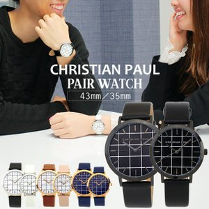 CHRISTIAN PAUL クリスチャンポール ペアウォッチ 2本セット ブランド 35mm 43mm レザー メンズ レディース 腕時計 グリッド カップル GRL-01 GRL-02|tokeiten