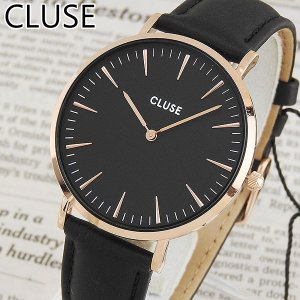CLUSE クルース La Boheme ラ・ボエーム CL18001 38mm 海外モデル レディース 腕時計 ウォッチ 黒 ブラック 金 ピンクゴールド 革バンド レザー|tokeiten