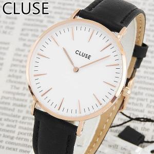 CLUSE クルース CL18008 38mm 海外モデル La Boheme ラ・ボエーム アナログ レディース 腕時計 ブラック ホワイト ピンクゴールド 革バンド レザー|tokeiten