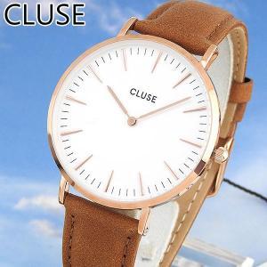 CLUSE クルース CL18011 38mm海外モデル La Boheme ラ・ボエーム レディース腕時計 白 ホワイト 金 ピンクゴールド キャメル 革バンド レザー|tokeiten