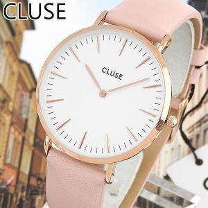 CLUSE クルース CL18014 38mm 海外モデル La Boheme ラ・ボエーム アナログ レディース 腕時計 白 ホワイト ピンク 革バンド レザー tokeiten