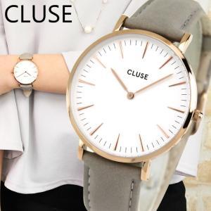 CLUSE クルース CL18015 38mm 海外モデル La Boheme ラ・ボエーム アナログ レディース 腕時計 ウォッチ 白 ホワイト グレー 革バンド レザー|tokeiten