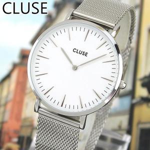 CLUSE クルース CL18105 38mm 海外モデル La Boheme MESH ラ・ボエーム メッシュ レディース 腕時計 白 ホワイト 銀 シルバー メタル バンド tokeiten