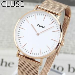 CLUSE クルース CL18112 38mm 海外モデル La Boheme MESH ラ・ボエーム メッシュ レディース 腕時計 ウォッチ 白 ホワイト 金 ピンクゴールド メタル バンド|tokeiten