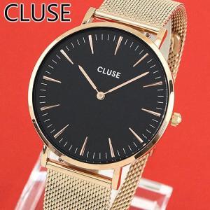 CLUSE クルース CL18113 38mm 海外モデル La Boheme MESH ラ・ボエーム メッシュ レディース 腕時計 ウォッチ 黒 ブラック 金 ローズゴールド メタル バンド|tokeiten