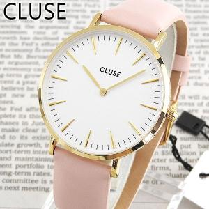 CLUSE クルース CL18410 38mm 海外モデル La Boheme ラ・ボエーム アナログ レディース 腕時計 白 ホワイト ピンク 金 ゴールド 革バンド レザー|tokeiten