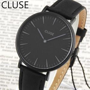 CLUSE クルース CL18501 38mm 海外モデル La Boheme ラ・ボエーム アナログ レディース 腕時計ウォッチ 黒 ブラック 革バンド レザー tokeiten