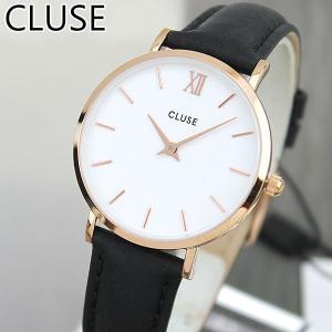 CLUSE クルース MINUIT ミニュイ CL30003 海外モデル レディース 腕時計 33mm 黒 ブラック 革バンド レザー カジュアル tokeiten