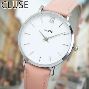CLUSE クルース MINUIT ミニュイ CL30005 海外モデル 33mm レディース 腕時計 ウォッチ 白 ホワイト ピンク 銀 シルバー 革バンド レザー tokeiten