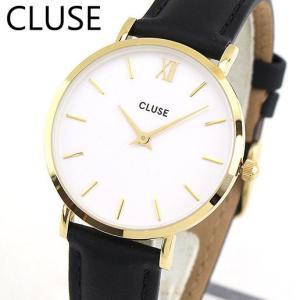 ポイント10倍 CLUSE クルース MINUIT ミニュイ CL30019 海外モデル 33mm レディース 腕時計 ウォッチ 黒 ブラック 白 ホワイト 金 ゴールド 革バンド レザー tokeiten