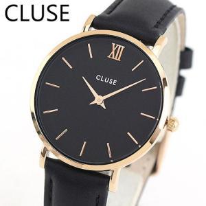 CLUSE クルース MINUIT ミニュイ CL30022 海外モデル 33mm レディース 腕時計 ウォッチ 黒 ブラック ローズゴールド 革バンド レザー tokeiten