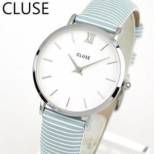 CLUSE クルース CL30028 33mm 海外モデル MINUIT ミニュイ レディース 腕時計 白 ホワイト ブルー 革バンド レザー tokeiten