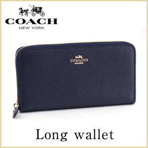 COACH コーチ 57713 LIBHP アコーディオン 海外モデル レディース 長財布 ウォレット ラウンドファスナー 青 ネイビー 金 ゴールド|tokeiten