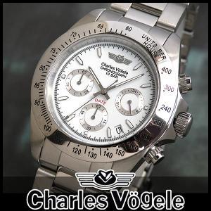シャルルホーゲル CV-7873-2 クロノグラフ メンズ腕時計 メタルバンド 時計 腕時計|tokeiten