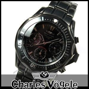 シャルルホーゲル CV-9023-3 クロノグラフ ブラック メンズ 腕時計 メタル 時計 特価セール ギフト|tokeiten