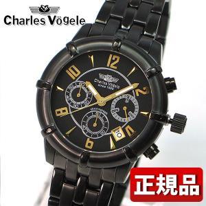 Charles Vogele シャルルホーゲル CV-9033-1 クロノグラフ メンズ 腕時計 新品 メタルバンド ブラック 黒 ゴールド 時計 ウオッチ|tokeiten