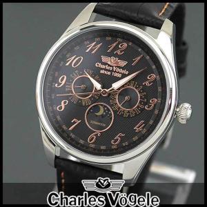 ポイント最大26倍 Charles Vogele シャルルホーゲル CV-9075-0 アナログ メンズ 腕時計 ウォッチ 黒 ブラック 金 ピンクゴールド 革バンド レザー|tokeiten