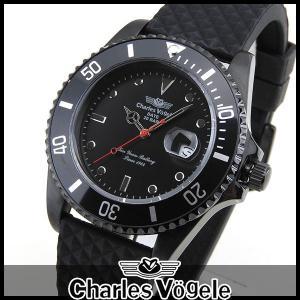 ポイント最大26倍 Charles Vogele シャルルホーゲル CV-9085-0 ダイバーズデザイン メンズ 腕時計 黒 ブラック|tokeiten