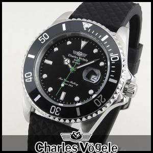 Charles Vogele シャルルホーゲル CV-9085-3 ダイバーズデザイン メンズ 腕時計 ウォッチ 黒 ブラック|tokeiten