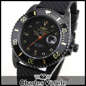 ポイント最大26倍 Charles Vogele シャルルホーゲル CV-9085-7 ダイバーズデザイン メンズ 腕時計 黒 ブラック|tokeiten