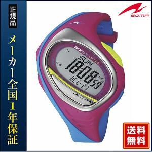 ポイント最大35倍 ランニング 腕時計 メンズ腕時計 ランニングウォッチ ソーマ スポーツ DWJ00-0009 ピンクブルー 国内正規品 LARGE ラージサイズ|tokeiten