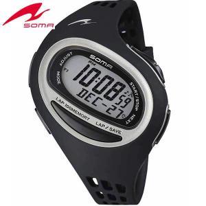 25日から最大35倍 SOMA ソーマ ランワン 100SL DWJ09-0001 ブラック MIDIUM ミディアム ジョギング ウォーキング マラソン ラップ 腕時計ランニングウォッチ|tokeiten