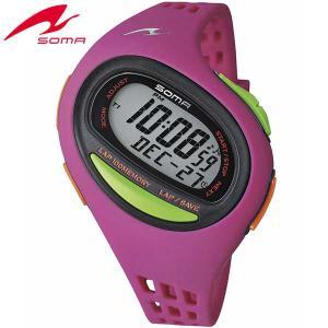 25日から最大35倍  SOMA ソーマ ランワン 100SL DWJ09-0003 マゼンタ MIDIUM ミディアム ジョギング ウォーキング マラソン ラップ 腕時計ランニングウォッチ|tokeiten