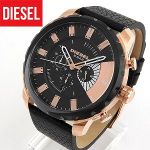ディーゼル 時計 腕時計 DIESEL クロノグラフ DZ4347 海外モデル ストロングホールド メンズ ウォッチ 黒 ブラック 金 ピンクゴールド 革バンド レザー|tokeiten