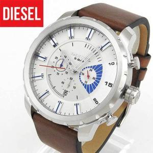 DIESEL ディーゼル クロノグラフ DZ4357 海外モデル ストロングホールド メンズ 腕時計 白 ホワイト 茶 ブラウン 革バンド レザー|tokeiten