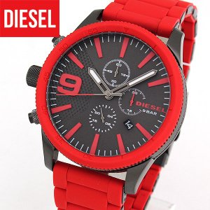 DIESEL ディーゼル  クロノグラフ DZ4448 ラスプ RASP アナログ メンズ 腕時計 海外モデル 赤 レッド ガンメタル シリコン ラバー|tokeiten