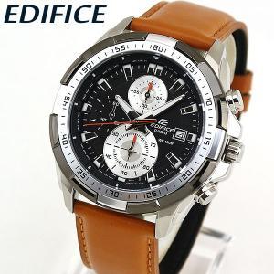 EDIFICE エディフィス CASIO カシオ クロノグラフ EFR-539L-1BV メンズ 腕時計 海外モデル 黒 ブラック 茶 ブラウン 革ベルト レザー|tokeiten