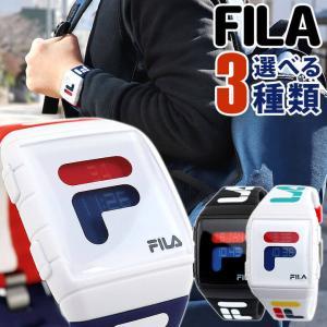 取扱説明書訳あり FILA フィラ FILASTYLE フィラスタイル デジタル メンズ レディース 腕時計 黒 ブラック 白 ホワイト トリコロール シリコン 海外モデル|tokeiten
