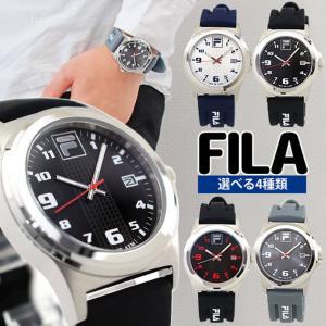 FILA フィラ 時計 アナログ メンズ 腕時計 海外モデル 黒 ブラック 青 ブルー シリコン ラバー カレンダー スポーツ ブランド 防水|tokeiten
