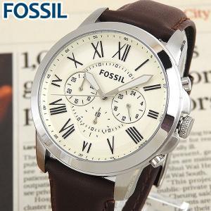 FOSSIL フォッシル FS4735 海外モデル アナログ メンズ 腕時計 ウォッチ 白 ホワイト 茶 ブラウン 革バンド レザー カジュアル 父の日|tokeiten