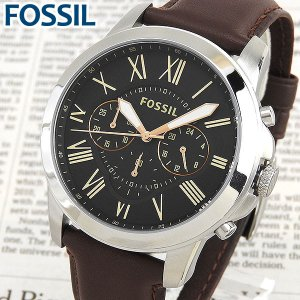 文字板訳あり FOSSIL フォッシル FS4813 海外モデル アナログ メンズ 腕時計 ウォッチ 黒 ブラック 茶 ブラウン 革バンド レザー|tokeiten