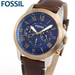 FOSSIL フォッシル クロノグラフ FS5150 海外モデル アナログ メンズ 腕時計 ウォッチ 青 ブルー 茶 ブラウン 革バンド レザー|tokeiten