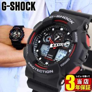 レビュー3年保証 CASIO カシオ Gショック Standard G-SHOCK ジーショック ブラック×レッド 黒 赤 GA-100-1A4 BIG CASE
